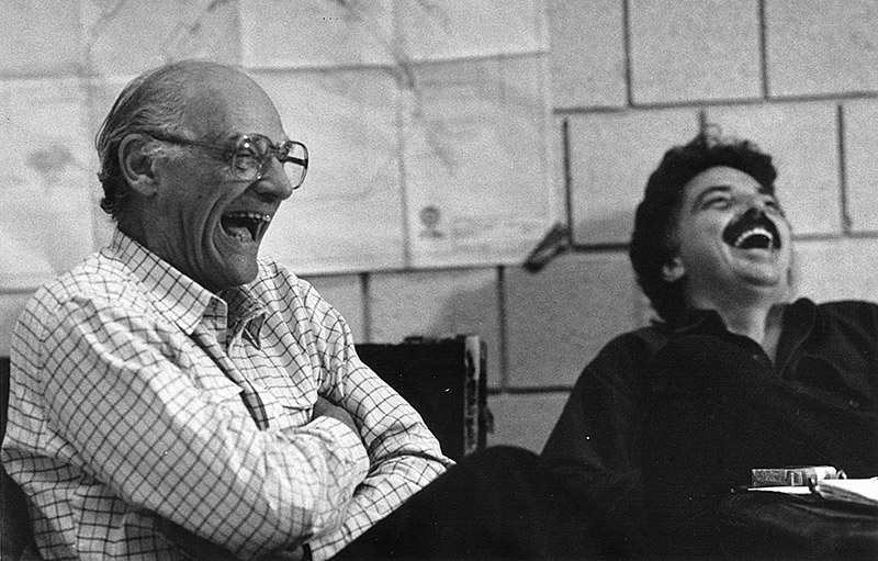 Bolt and Arthur Miller laughing together on set