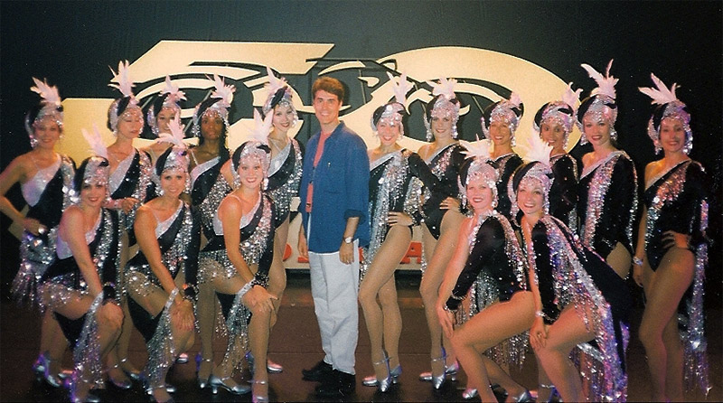Posing with the Radio City Rockettes, Knowles choreographed the group's 50th Anniversary performance